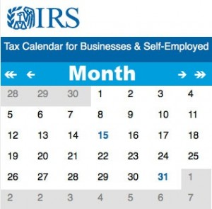 IRS Calendar - Courtesy of Condon and Lapsley Certified Public Accountants in Plymouth MA